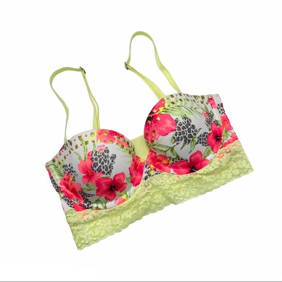 PINK VS Floral Lace Bustier Multiway Bra 34C